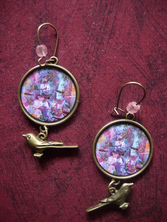 Be Brave  art illustrated earrings with a bird charm by by eltsamp, $28.00