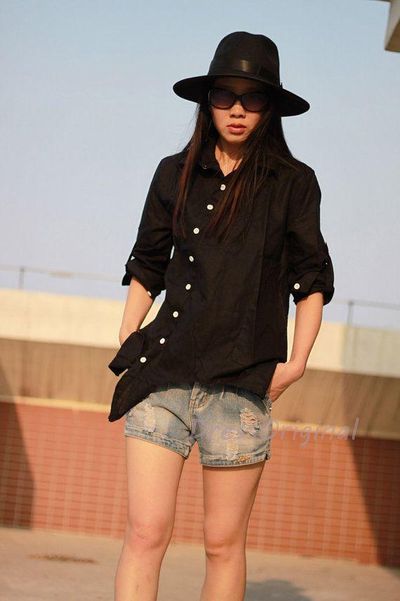 Уникальная боковые кнопки черная рубашка блузка белье больших размеров льняная рубашка блузка лен белье топы хлопчатобумажную рубашку на заказ TopS SBP43