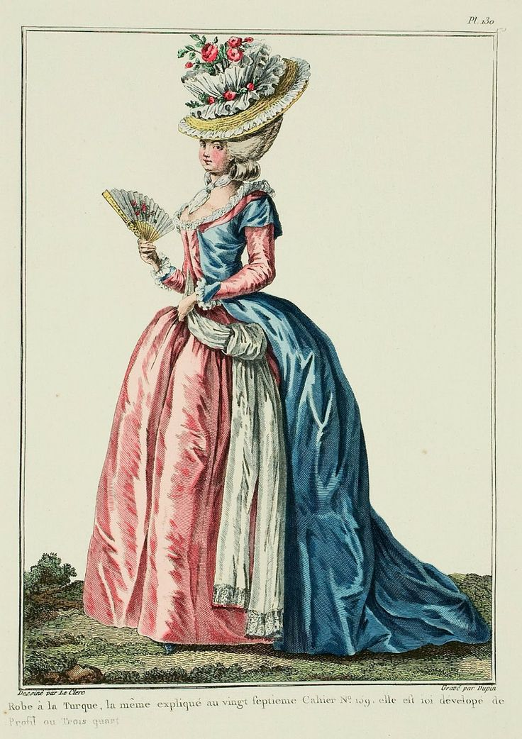 Robe à la Turque, the same explained in the twenty-seventh Book p. 159; it is here shown in profile or three-quarter view. (1780)