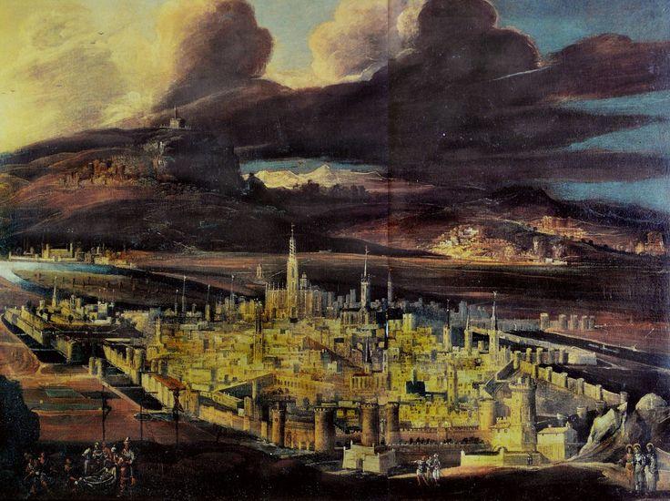 """ François de Nomé - Imaginary Landscape of Jerusalem with the Deposition. N.d. """