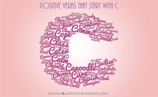 """Positive verbs """"action words"""" starting with C (word cloud) #PositiveSaurus #PositiveVerbs #PositiveWords #LetterC #ActionWords http://www.positivethesaurus.com/2014/09/positive-verbs-that-start-with-c.html"""