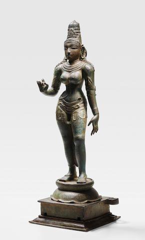 A COPPER ALLOY FIGURE OF PARVATI TAMIL NADU, CHOLA PERIOD, CIRCA 12TH CENTURY