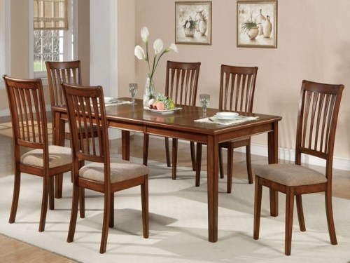 Casual Dining Set With Butterfly Leaf In Chestnut Finish