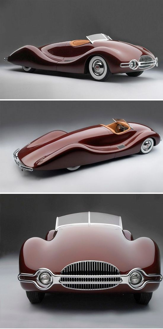 1948 Buick Streamliner- Norman E. Timbs, a GM engineer, designed this car. Unlike the beautiful cars that Harley J. Earl was famous for, this one is crafted from aluminum and weighed only 2200lbs!