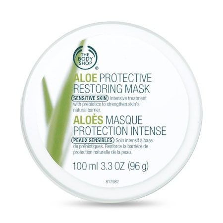 The Body Shop ALOE PROTECTIVE RESTORING MASK 100ML An intensely protecting smooth and creamy leave-on mask treatment, which absorbs into the skin to form a blanket of soothing protection, helping to restore the skin's natural defence system. • Provides extra hydration • Fragrance, colour and alcohol-free • No added preservatives • Weekly treatment