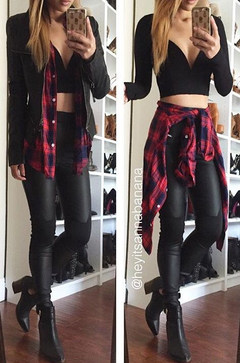 Deep V-Neck Black Long Sleeved Crop Top, Black Leather Leggings, Black Heels And A Red Plaid Shirt Tied Around My Waist