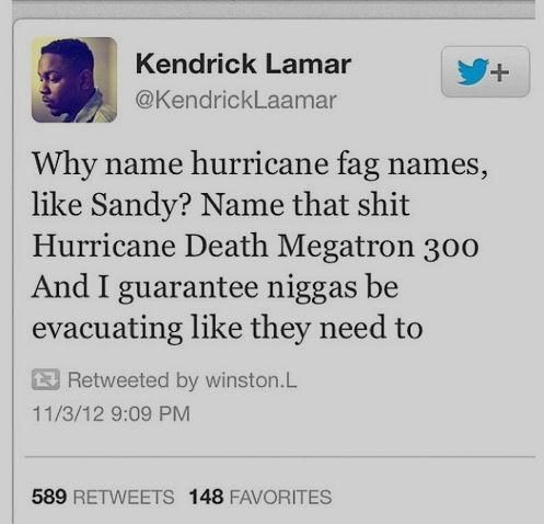 Kendrick Lamar on Hurricane names. Genius.