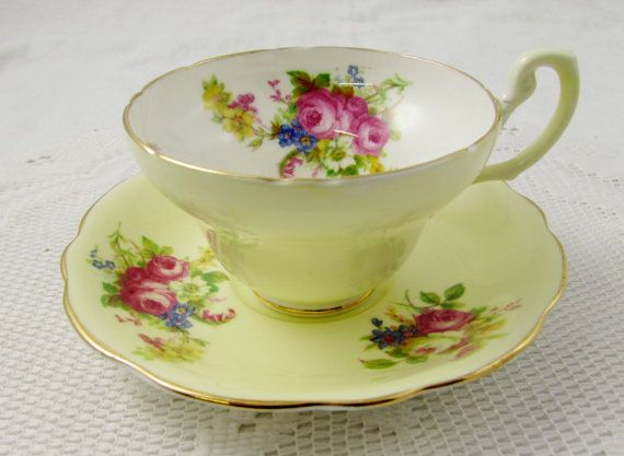Foley Creamy Yellow Floral Tea Cup and Saucer, Vintage Bone China