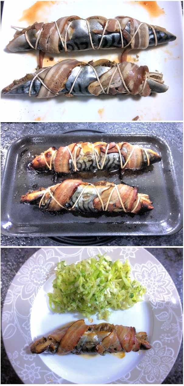 Oven baked mackerel fillets stuffed with capers and olives.