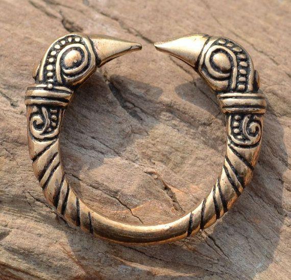 VIKING RAVEN RING Mammen stijl bronzen Viking Art stijl Vikingen Pagan Jewel Crow Norse Noorwegen dier hoofd ringen