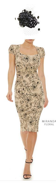 Miranda Floral Beige Cream Black Wedding Guest Dress