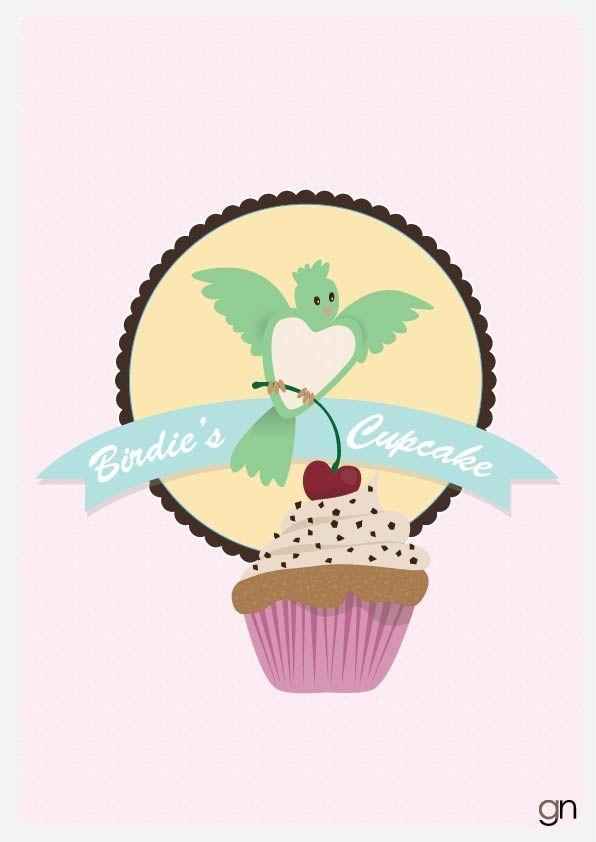 Birdie's Cupcake Vintage illustration