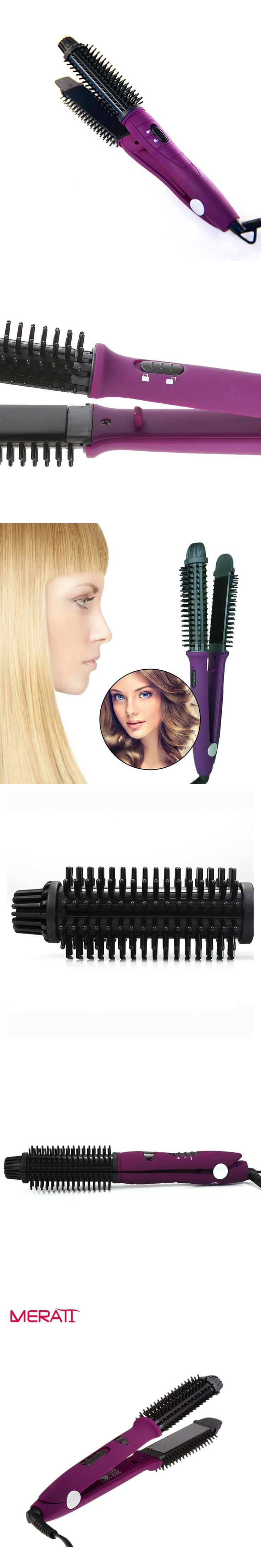 Hair Styling Tools 2 in 1 Pro Curling Hair Magic Hair Straightener Brush Straightening comb Irons Hair Curler