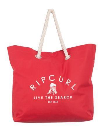 SURF HUT BEACH BAG // red - Oversized beach bag with fun lifeguard tower logo print.