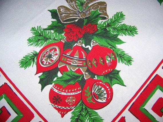 Vintage Christmas Tablecloth Greek Key Shiny By Shabbyshopgirls, $38.75