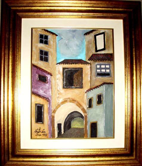 Uma ruela na Invicta.   Uma das primeiras obras da pintora Adelaide Moça  Pintado a óleo sobre tela   Tamanho: 40*30 com Moldura 62,50*52,50 cm
