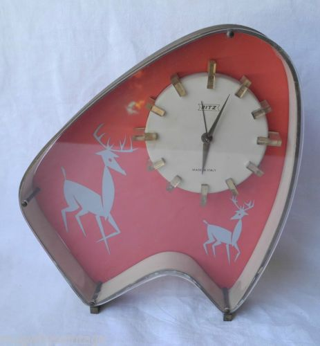 Vintage-Ritz-Art-Deco-Made-Italy-Perspex-Deer-Alarm-Clock-Wind-Up-Mantel