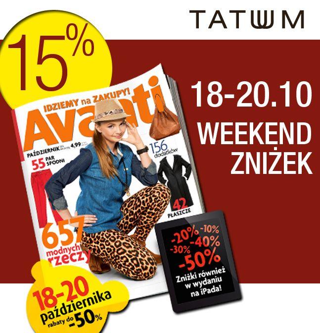 Weekend zniżek w Tatuum z Avanti :) Zapraszamy!