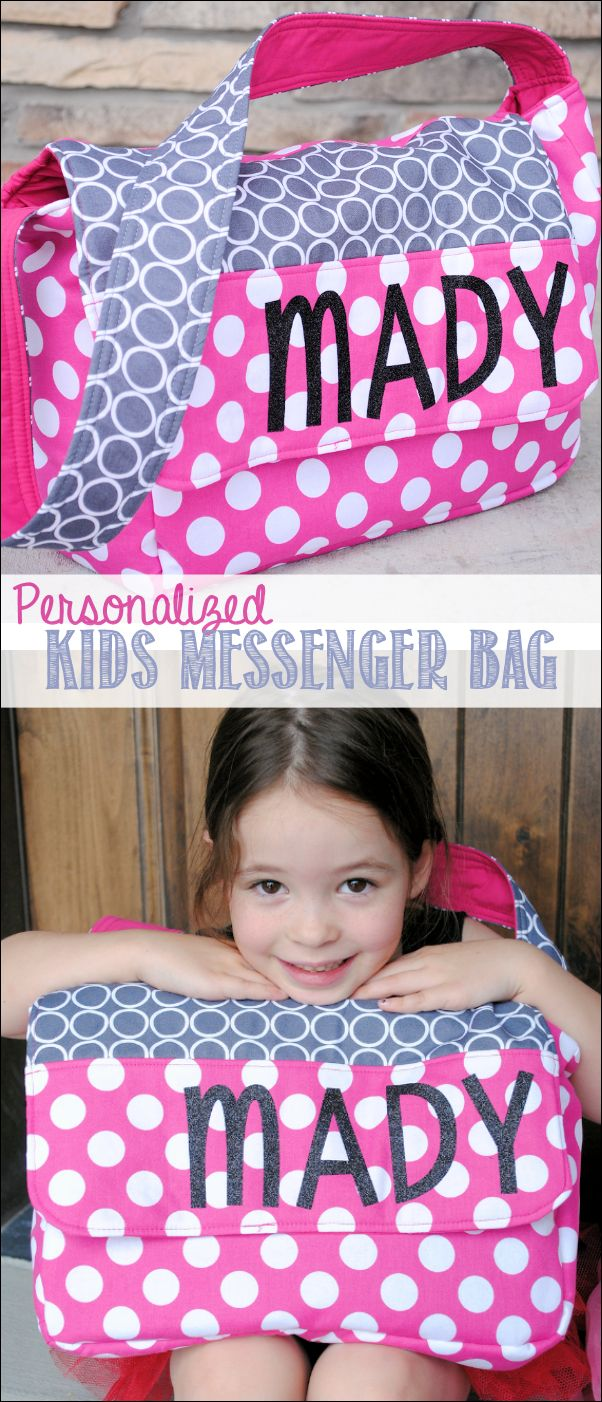 1 yard-1 yard each coordinating 1/2 yard accent Personalized Kids Messenger Bag Pattern and Tutorial by Crazy Little Projects
