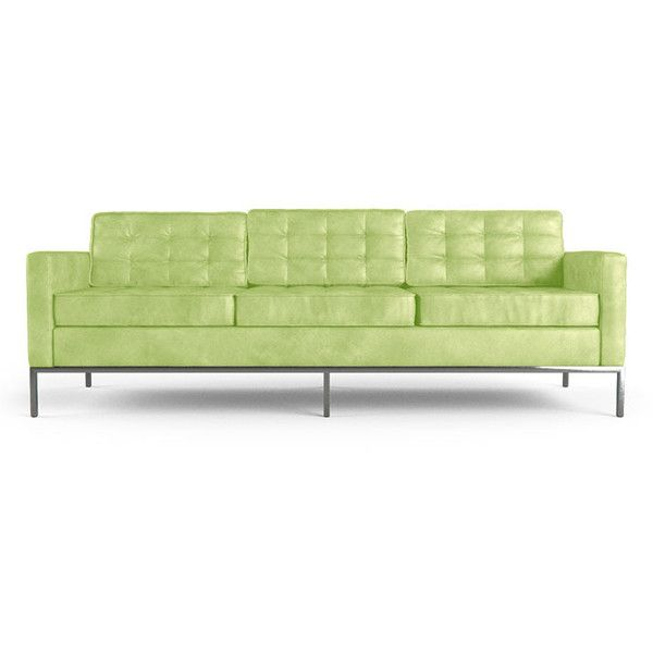 Joybird Franklin Mid Century Modern Green Leather Sofa ($4,999) ❤ Liked On  Polyvore Featuring