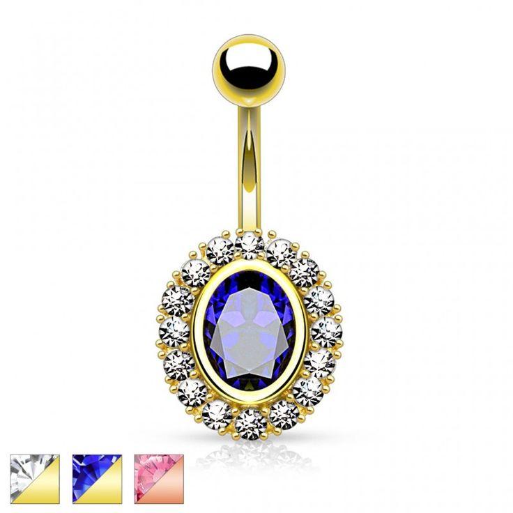 Piercing nombril plaqué or ovale gemme
