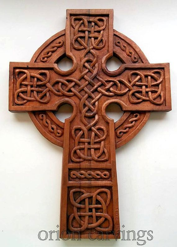 Celtic Cross Wood carving Handmade Woodcarving by OrionCarvings
