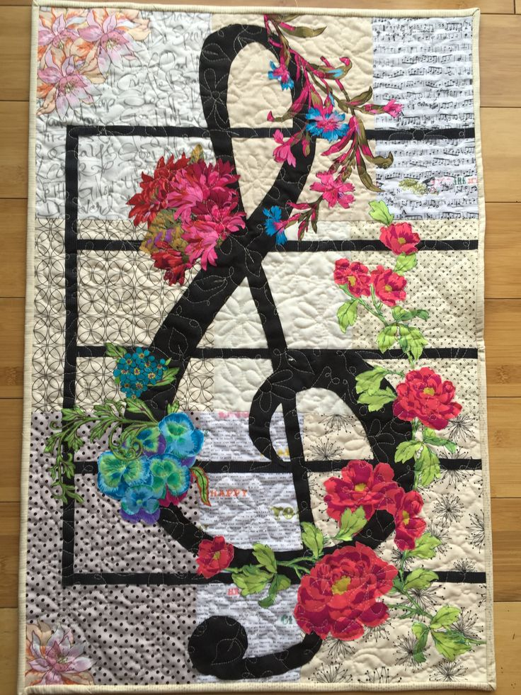 """Art quilt, wall hanging, treble clef One-of-a-kind $250 Measures 22"""" x 32 1/2"""" Tallpoppystudios.etsy.com"""