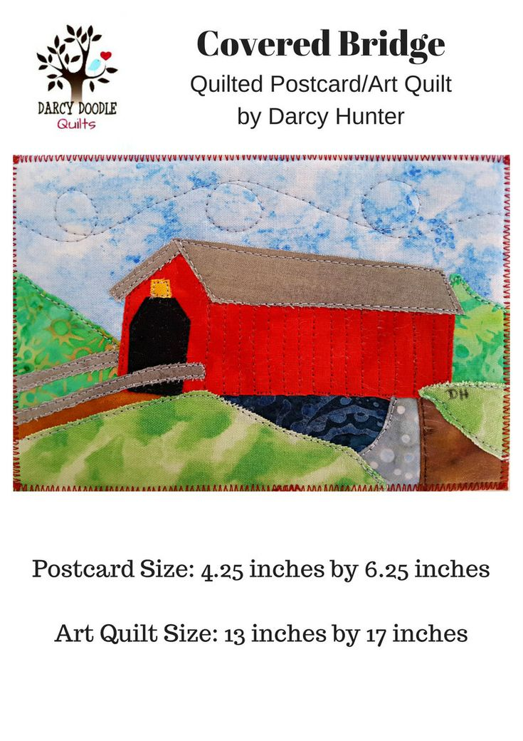 Covered Bridge PDF Quilt Pattern / Quilting Patterns / Quilt Pattern / Simple Quilt Patterns  / Art Quilt Patterns / Gifts for Quilters by DarcyDoodleQuilts on Etsy