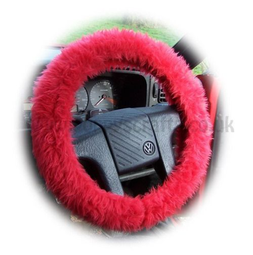 Faux fur Racing Red fuzzy car steering wheel cover furry fluffy...