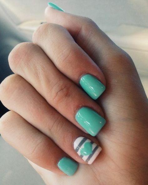 45 Cute Mint Nail Art Ideas For Summer Nail Design Ideaz Cute Gel Nails Mint Nails Mint Green Nails