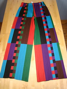 Authentic Issey Miyake Pleats Please Multi Coloured Trousers | eBay