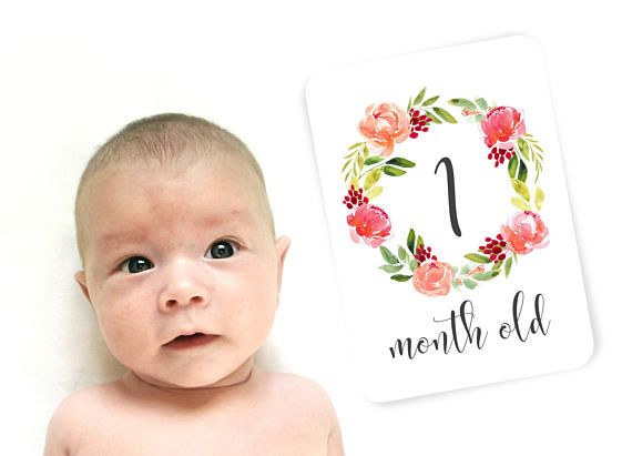 Floral Milestone Cards. Monthly Milestone Cards. Baby