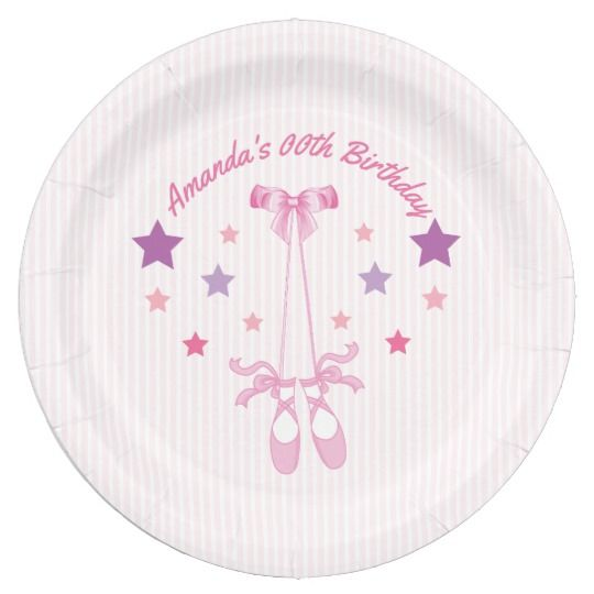 Pink Ballerina themed Birthday Party personalized Paper Plate