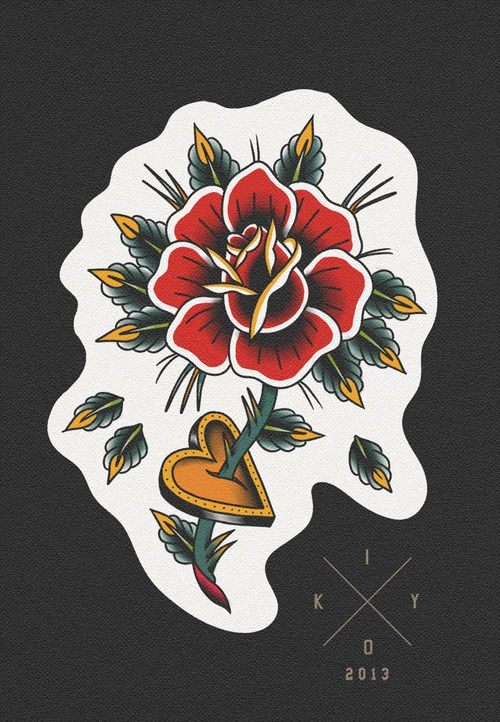 art painting tattoos tattoo heart old school rose tattoo flash traditionaltattoo tattooflash rose & heart