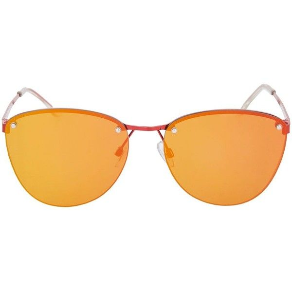 Topshop Rimless Small Visor Sunglasses ($23) ❤ liked on Polyvore featuring accessories, eyewear, sunglasses, red, topshop sunglasses, red glasses, rimless glasses, metal sunglasses and visor glasses