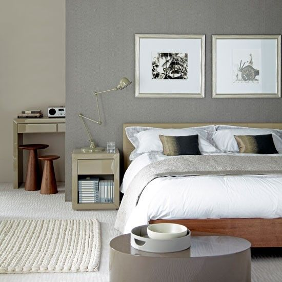 Modern and minimalist bedroom where the focus is the textures contrast / Dormitorio moderno y minimalista donde el protagonista es el contraste de texturas.