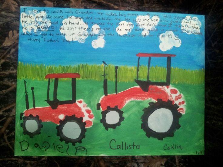 Classroom Ideas Trees ~ Fathers day paint canvas footprint kids craft grandpa poem