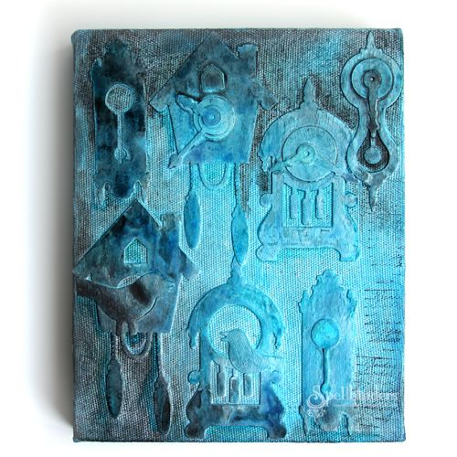 Time Canvas by Lesley Langdon - Spellbinders and Mixed Media Canvas