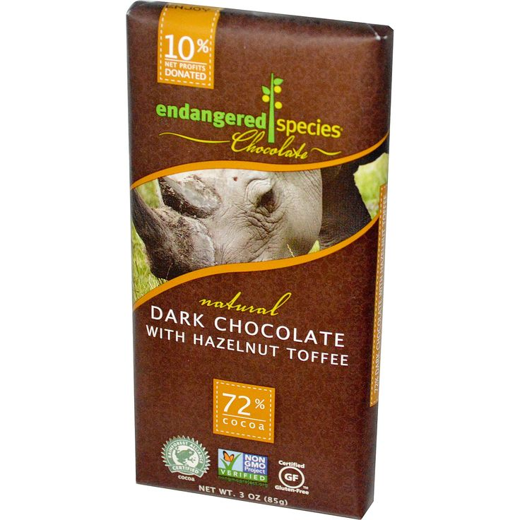 Endangered Species Chocolate, Natural Dark Chocolate with Hazelnut Toffee, 3 oz (85 g) - iHerb.com