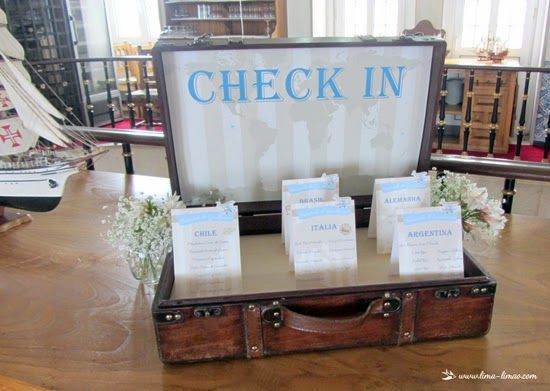 all trips star with CHECK IN (as a setting plan) for this vintage travel plane party