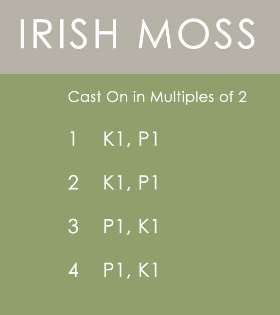 The IRISH MOSS Stitch: St. Patrick's Day Knitting DIY