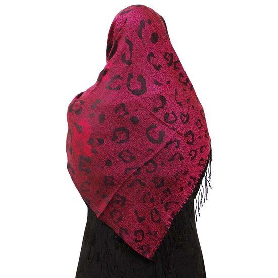 Hot Pink Hijab with Large Black Cheetah Prints and Black Tassles Scarf