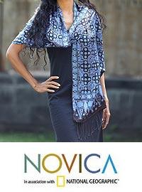 Silk batik shawl, 'Java Sea' at The Animal Rescue Site