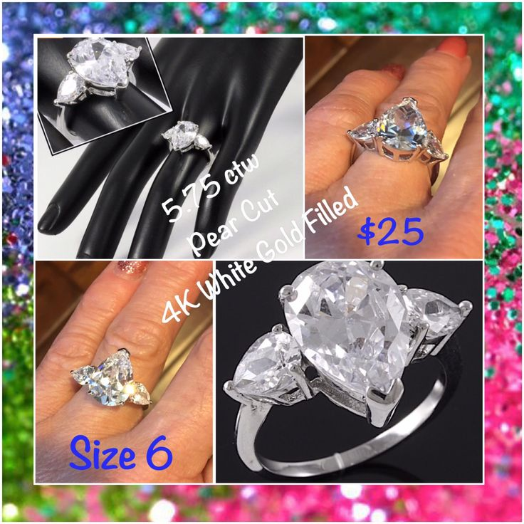 $25 - 5.75 ctw Pear Cut 4K White Gold Filled
