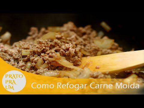 Esse vídeo ensina como refogar carne moída que pode ser comida somente refogada ou para fazer outros pratos.