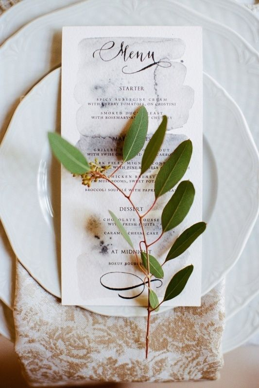watercolor and calligraphy wedding dinner menu