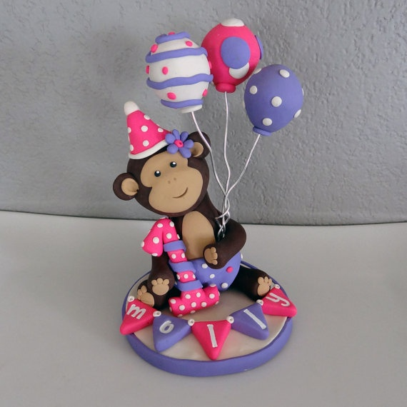 LARGE Monkey Custom Cake Topper for Birthday or Baby
