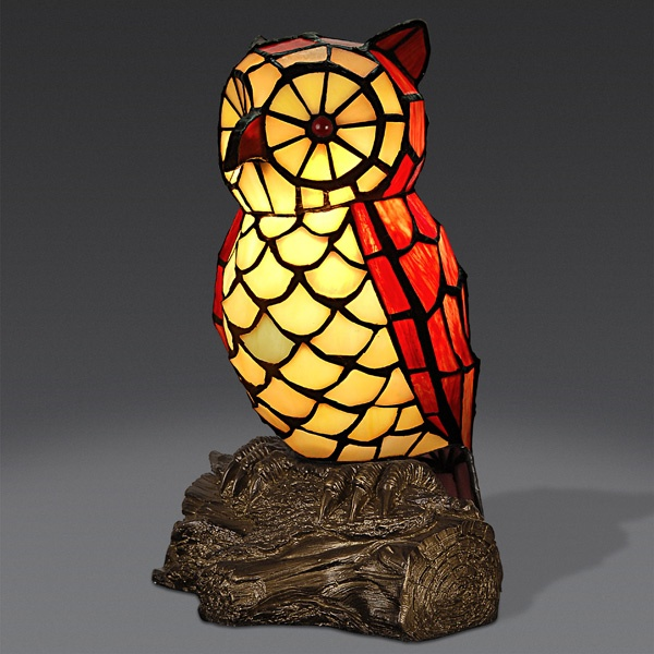 AO12001 1 Owl Tiffany Style Lamp Www.artedalmondo.it