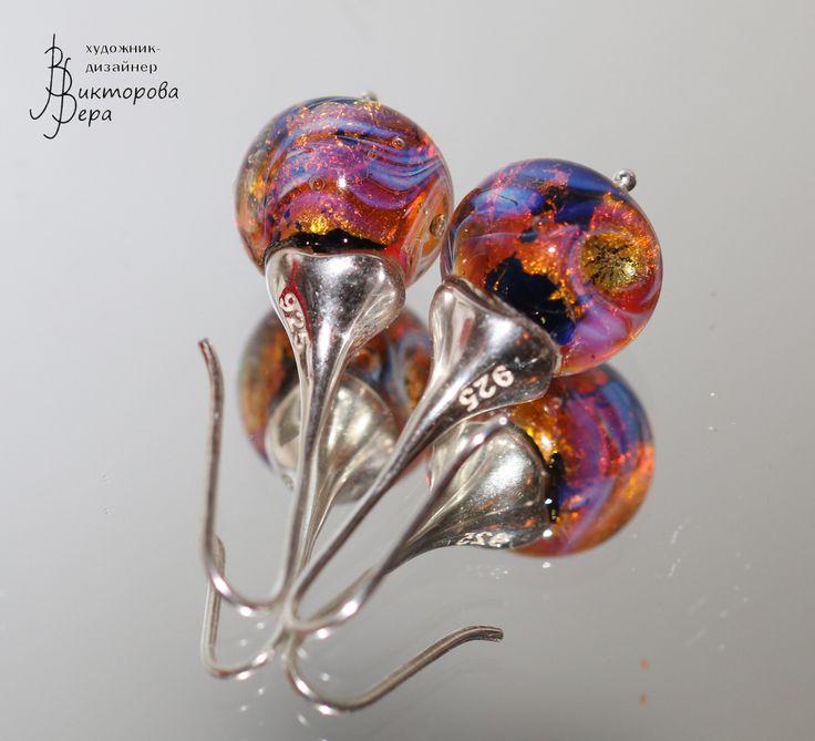 "Collection of earrings ""Dryads"". Artisan handmade lampwork. Sterling silver"