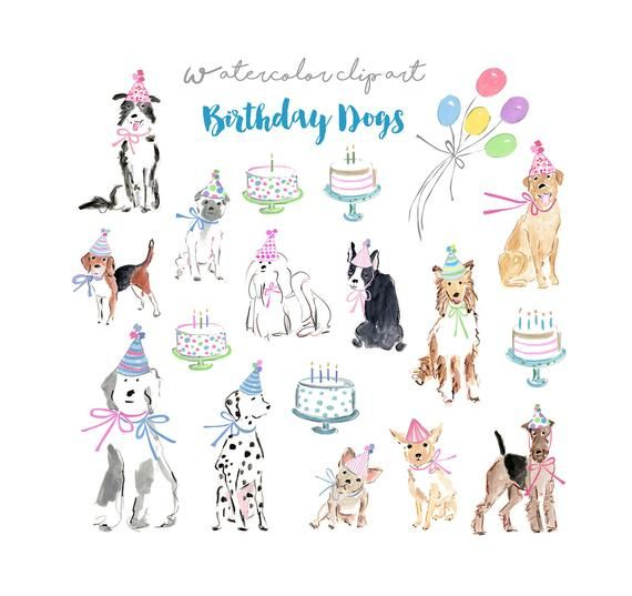 Birthday Dogs Clip Art Collection Watercolor Dogs Watercolor Clip Art Party Clip Art Birthd Watercolor Dog Dog Clip Art Clip Art